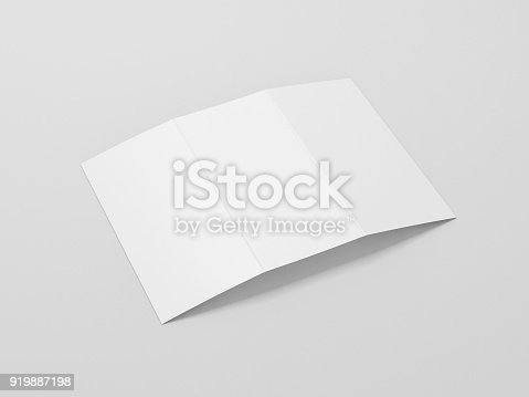 istock White Leaflet invitation Cover Mockup on gray background 919887198
