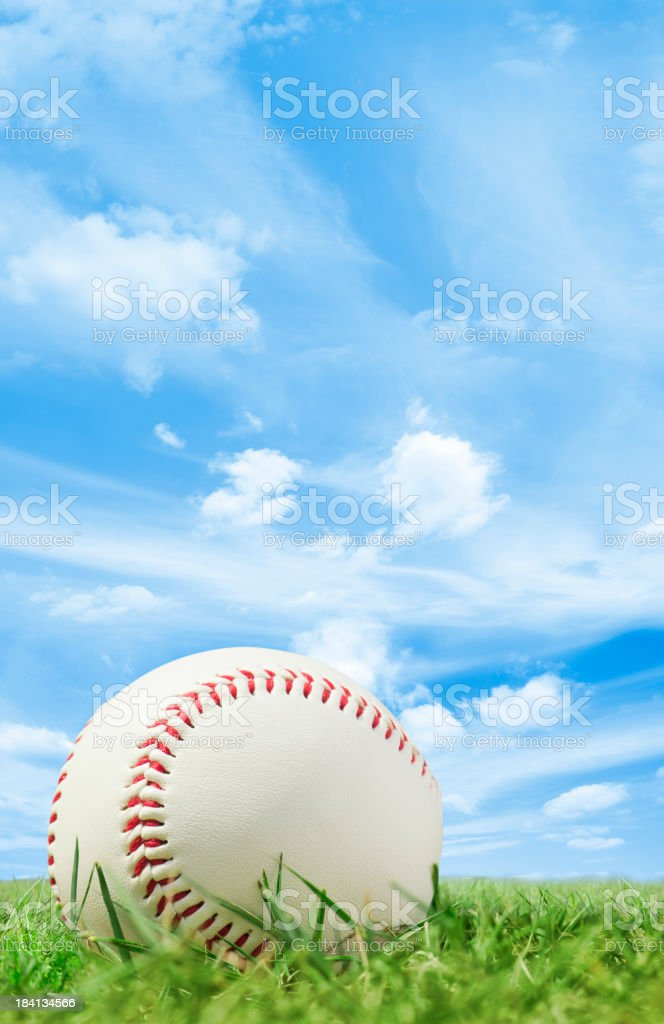 White leather baseball on grass pitch with blue sky stock photo