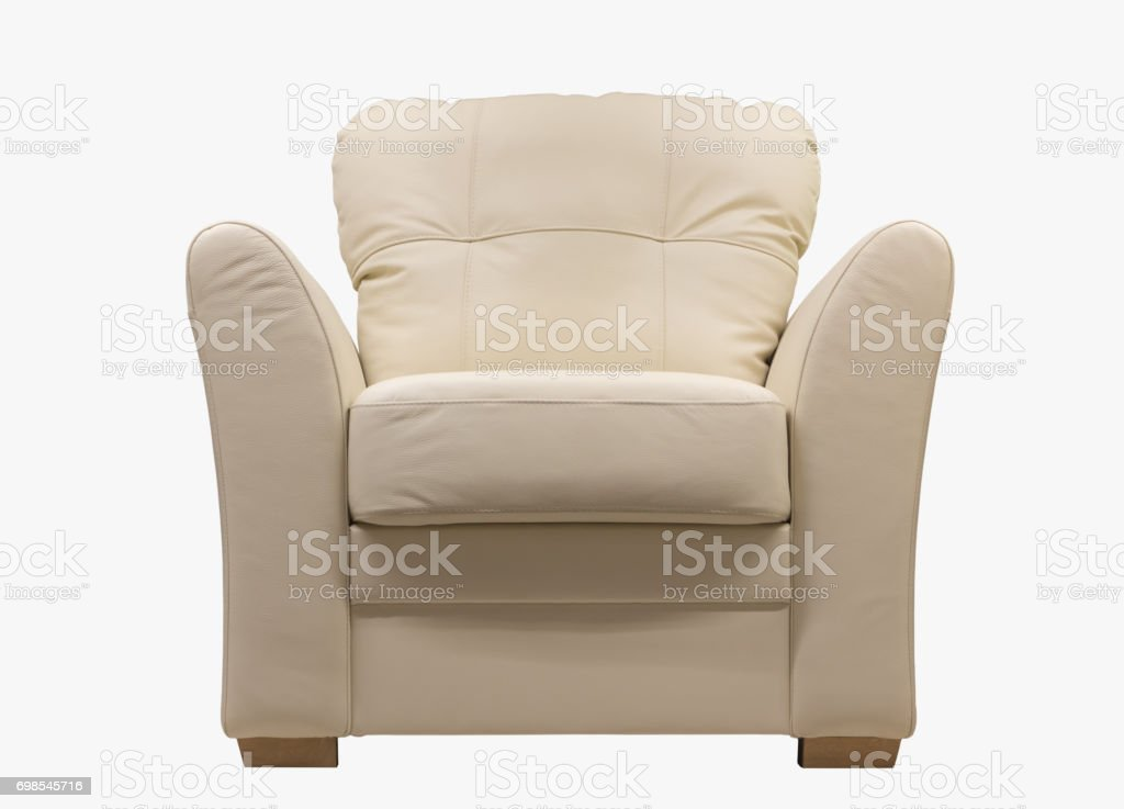 White leather chair isolated on white background stock photo