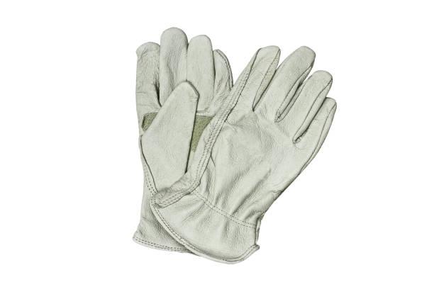 weißes lederhandschuhe isoliert auf weißem hintergrund - arbeitshandschuhe stock-fotos und bilder