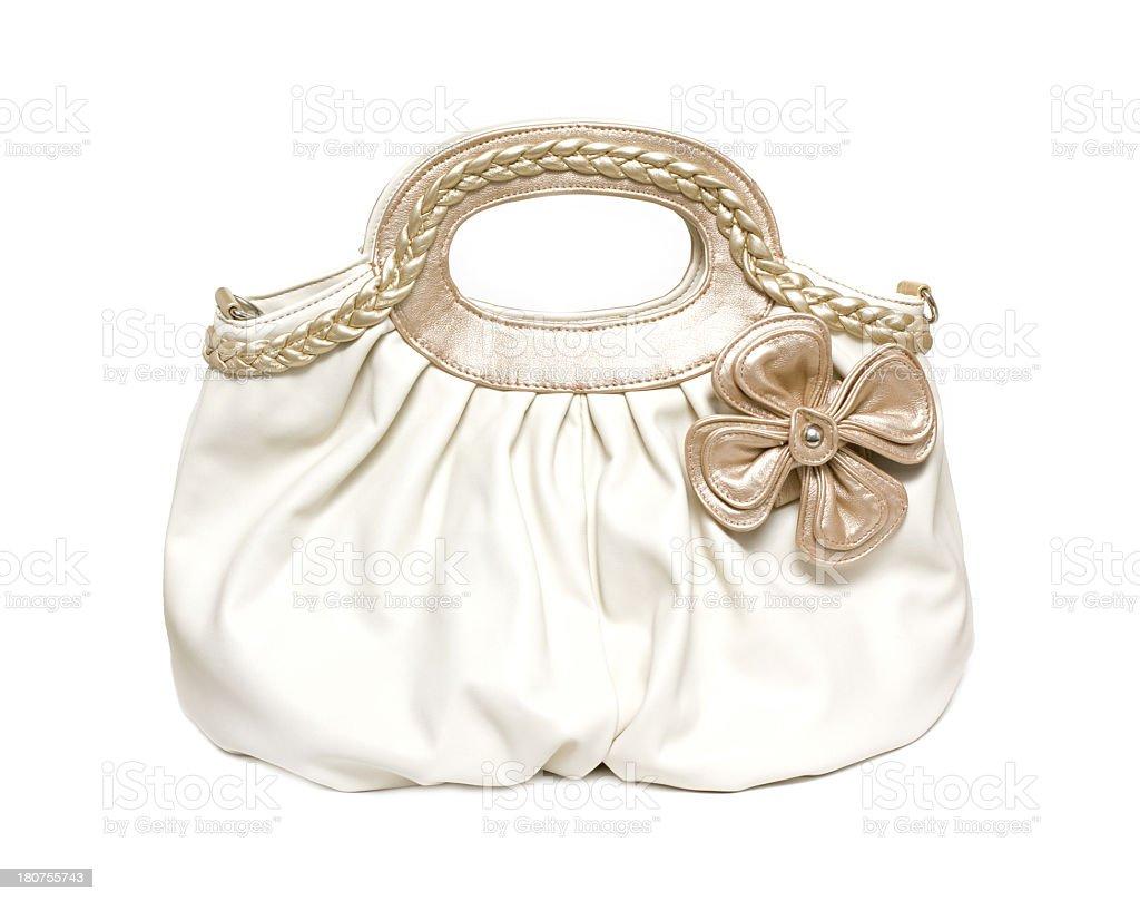 White leather handbag isolated on white background royalty-free stock photo