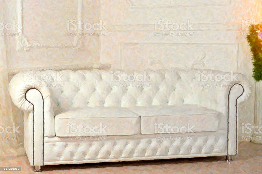 White leather sofa in Christmas decorations royalty-free stock photo