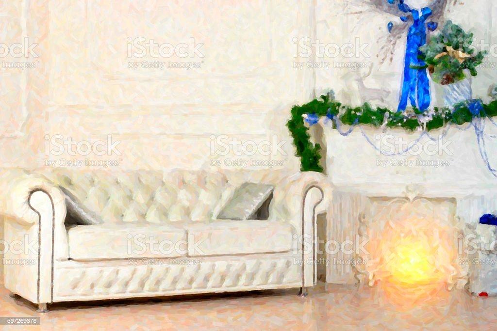 Weißes Leder-sofa im Weihnachtsdekoration Lizenzfreies stock-foto