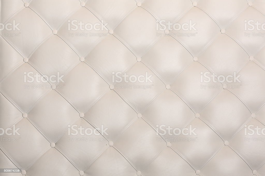 White Leather Upholstery Background or Texture stock photo
