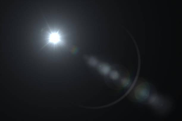白レンズ フレア - 黒の背景 - 太陽の光 ストックフォトと画像