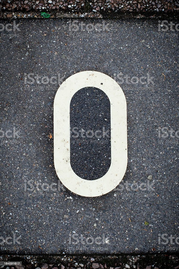 White Letter O on the Road Asphalt. royalty-free stock photo