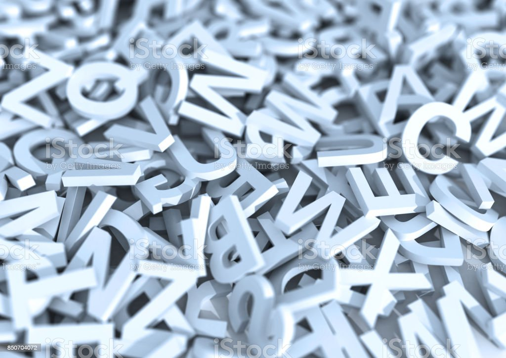 White letters. 3D Illustration. stock photo