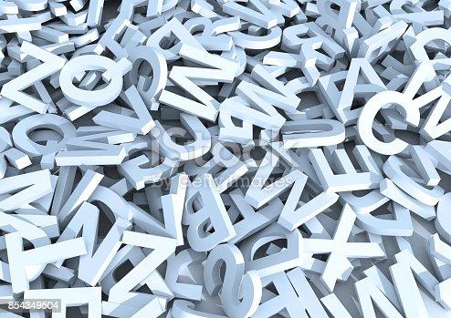 istock White letters. 3D Illustration. 854349504