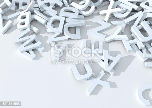 istock White letters. 3D Illustration. 854811996
