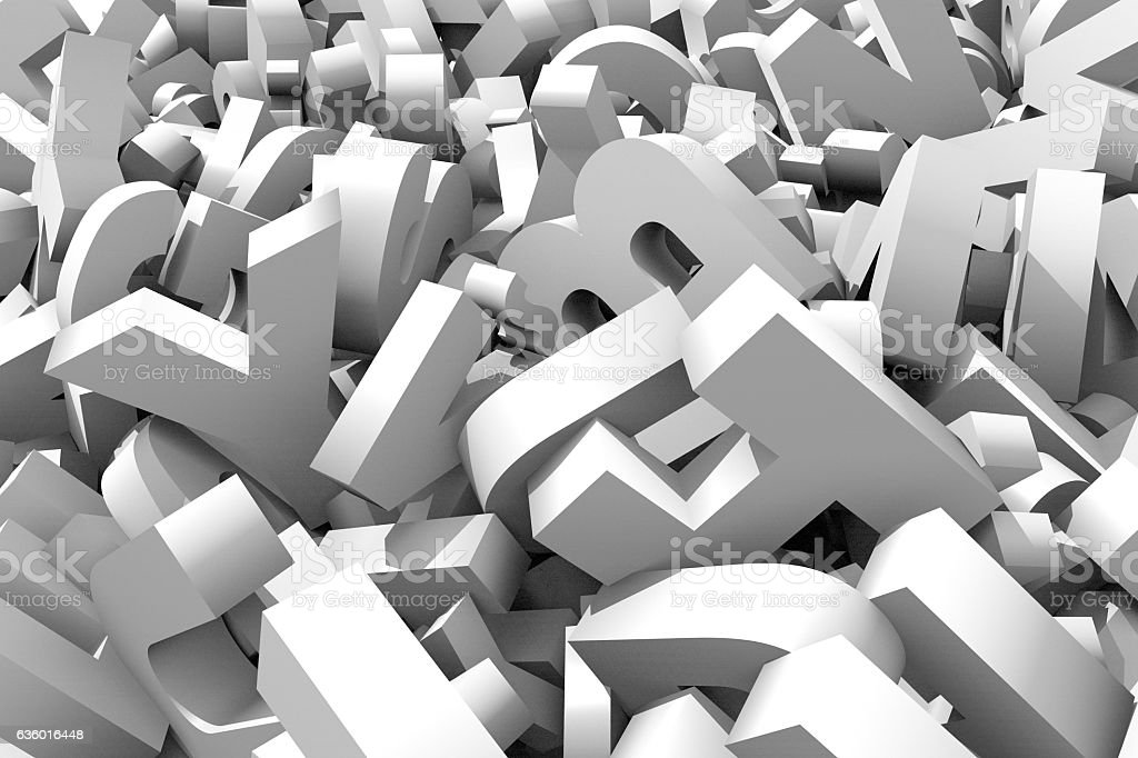 white letters chaos stock photo