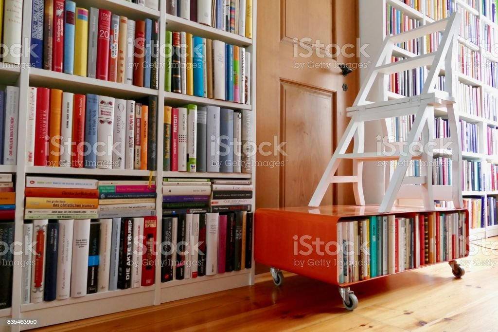 White Library Ladder Standing In Front Of Book Shelves Royalty Free Stock Photo
