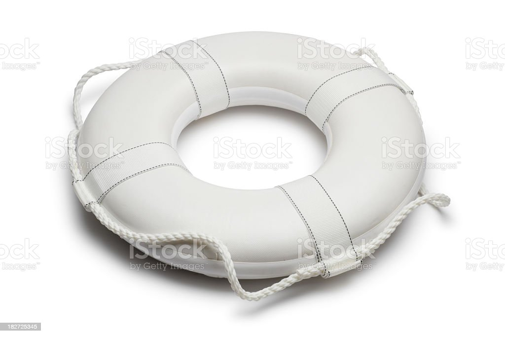 White lifepreserver isolated on a white background stock photo