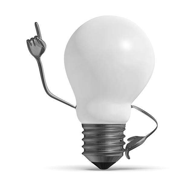 White light bulb character in moment of insight isolated White light bulb character in moment of insight isolated aha stock pictures, royalty-free photos & images
