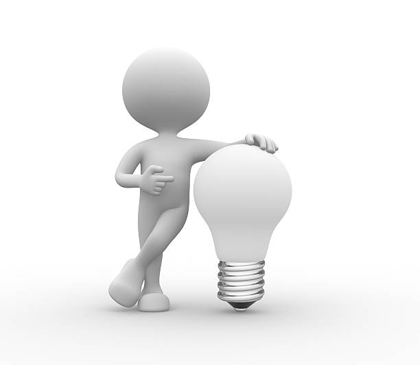 Best White 3d People With Light Bulb Stock Photos, Pictures