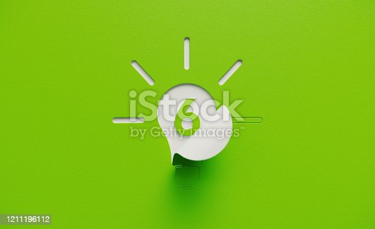 White lightbulb shape folding on green background. Number six written on the light bulb shape. Horizontal composition with copy space.
