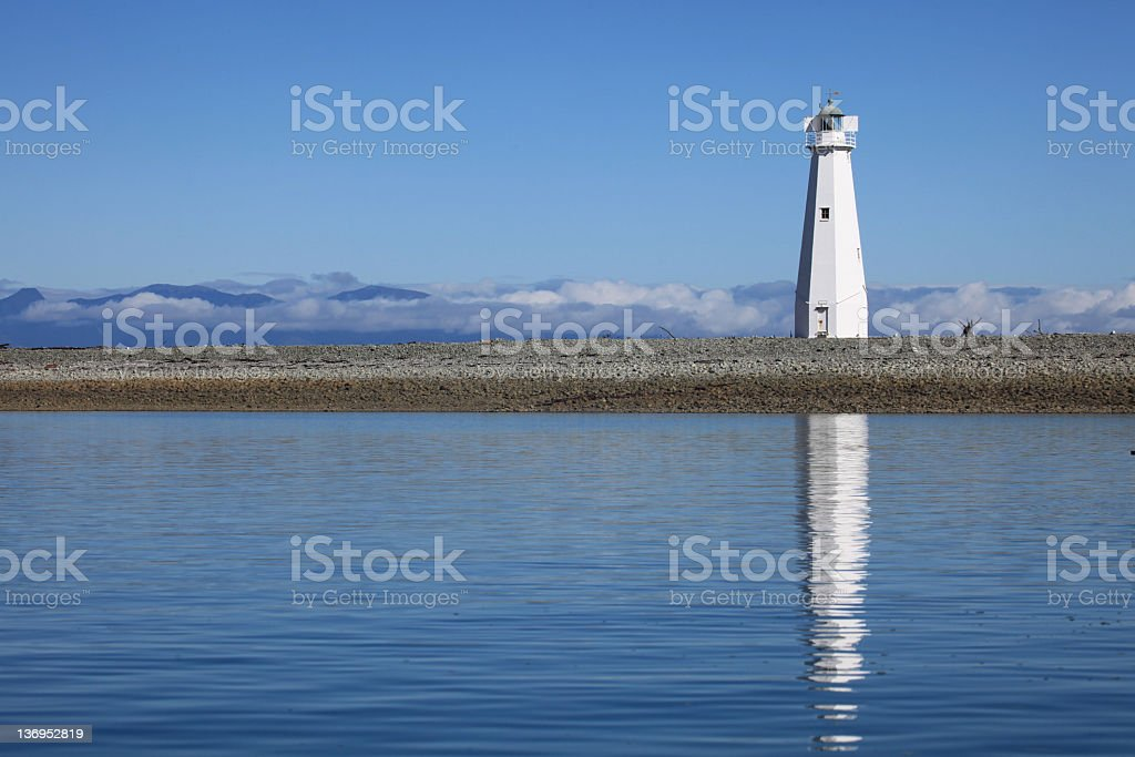 White Light House, Nelson, Harbor, New Zealand stock photo