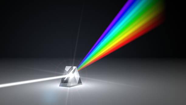 witte lichtstraal verspreiden aan andere kleur licht stralen via prisma. 3d illustratie - lichtbreking stockfoto's en -beelden