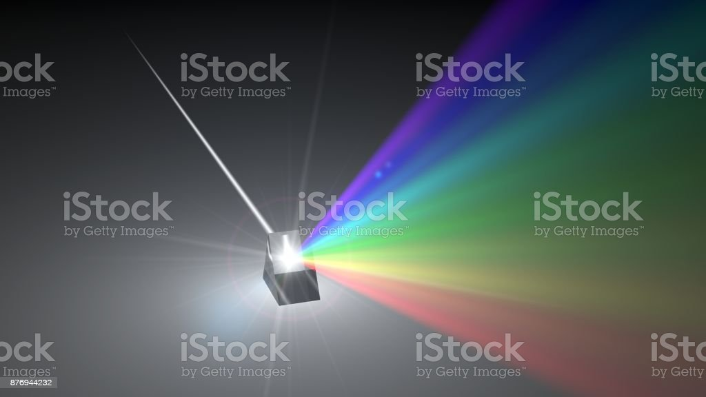 white light ray dispersing to other color light rays via prism. 3d illustration stock photo