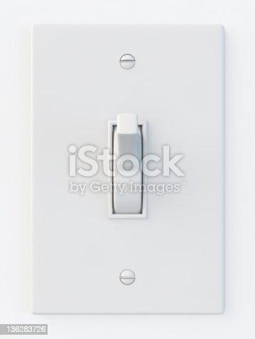 white light switch isolated on white background