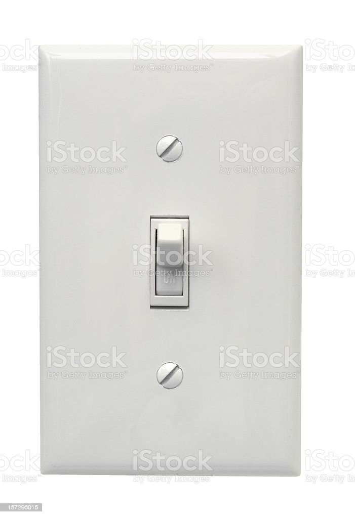 White light switch in the on position royalty-free stock photo