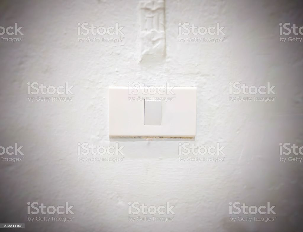 White light switch, turn on or turn off the lights stock photo