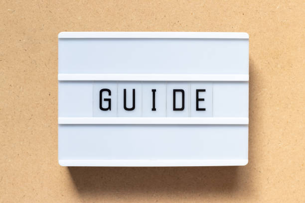 White lightbox with word guide on wood background stock photo