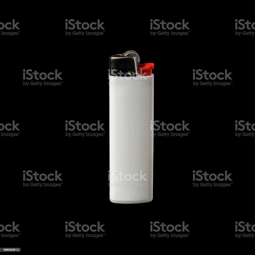 White lighter isolated on a black background foto de stock libre de derechos