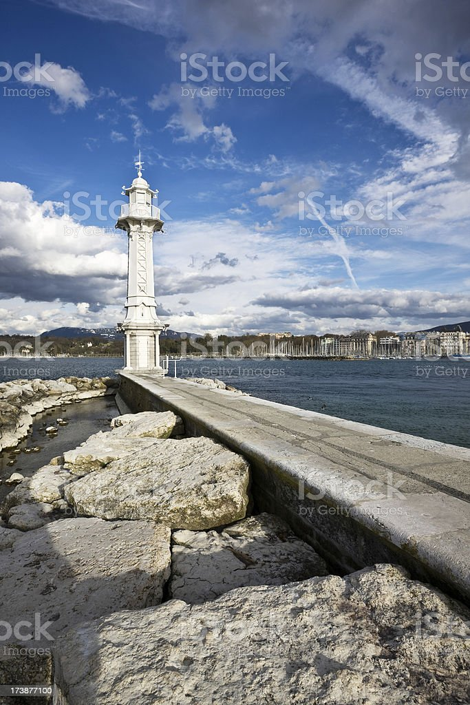 White Lighthouse Geneva stock photo