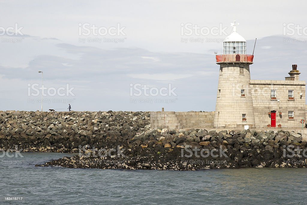 White lighthouse Howth Harbour royalty-free stock photo