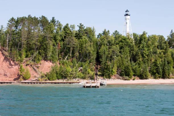 White lighthouse on an Apostle Island in Lake Superior