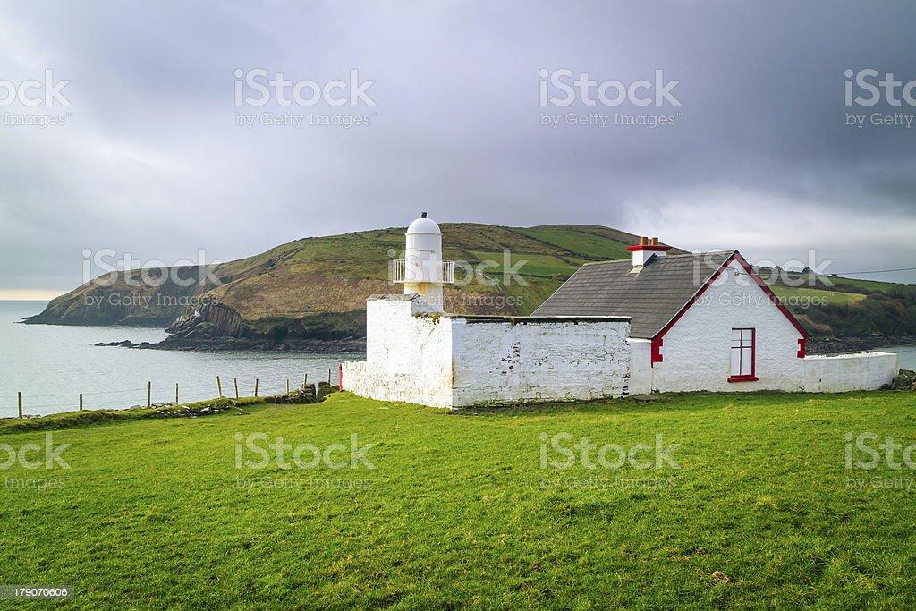 White Lighthouse on the Irish coast royalty-free stock photo