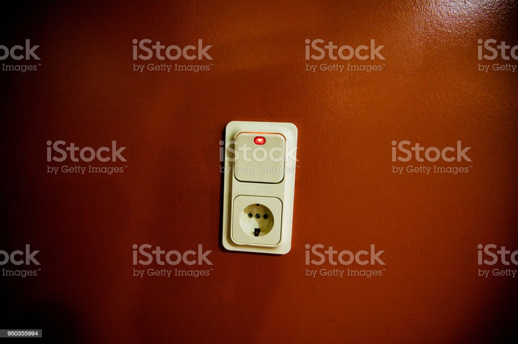 White Lighting Control Switch With Led Indicator And Socket On Red ...