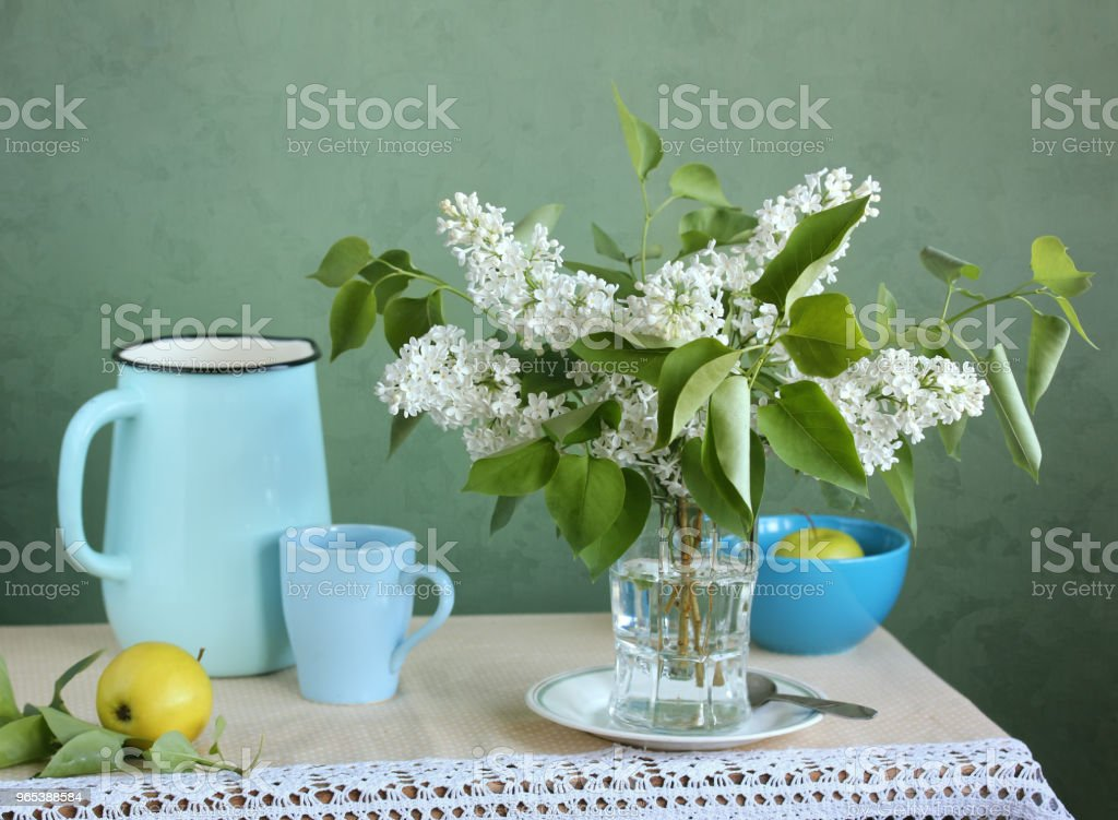 White lilac and apples. Flowers in a vase. zbiór zdjęć royalty-free