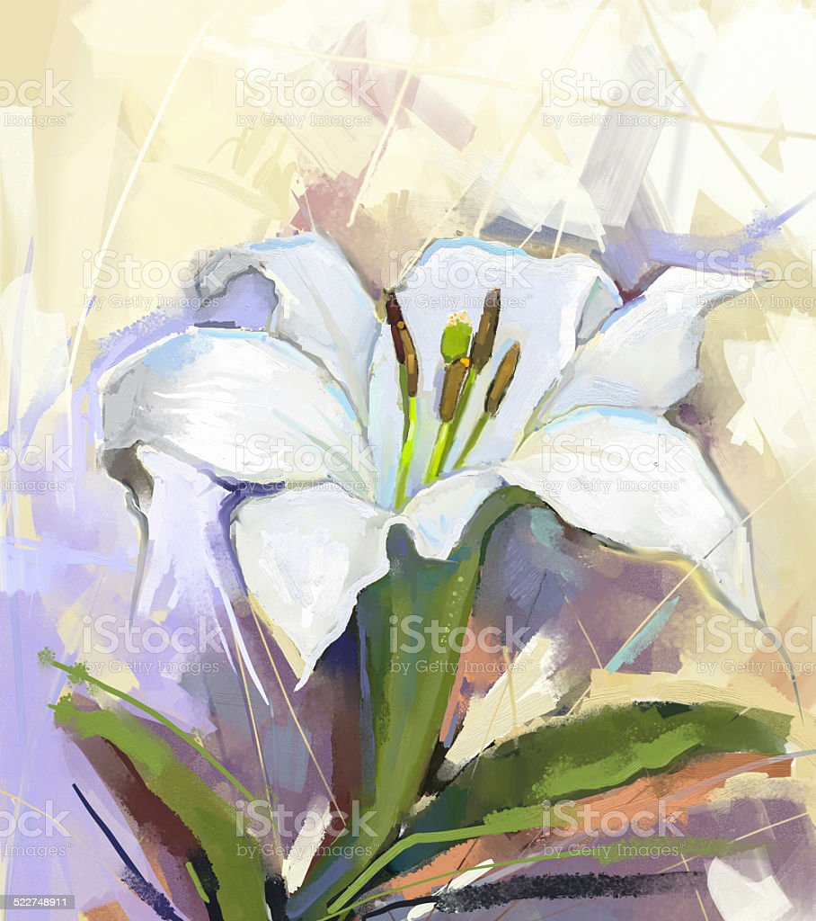 White Lily Flowerflower Oil Painting Stock Photo More Pictures Of