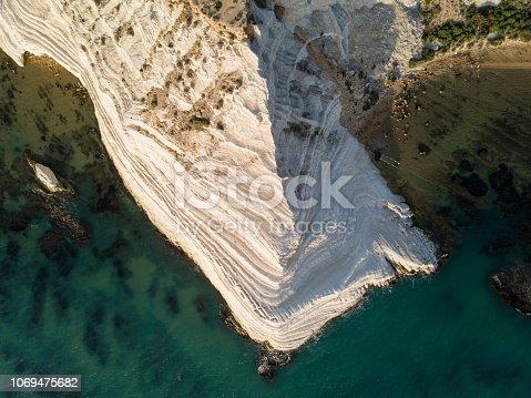 White limestone cliffs by the sea
