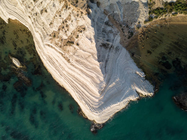 White limestone cliffs by the sea stock photo