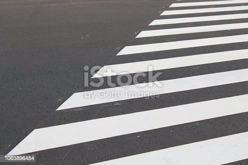 White . line on city asphalt road background. pedestrian crossing. Copy space for text