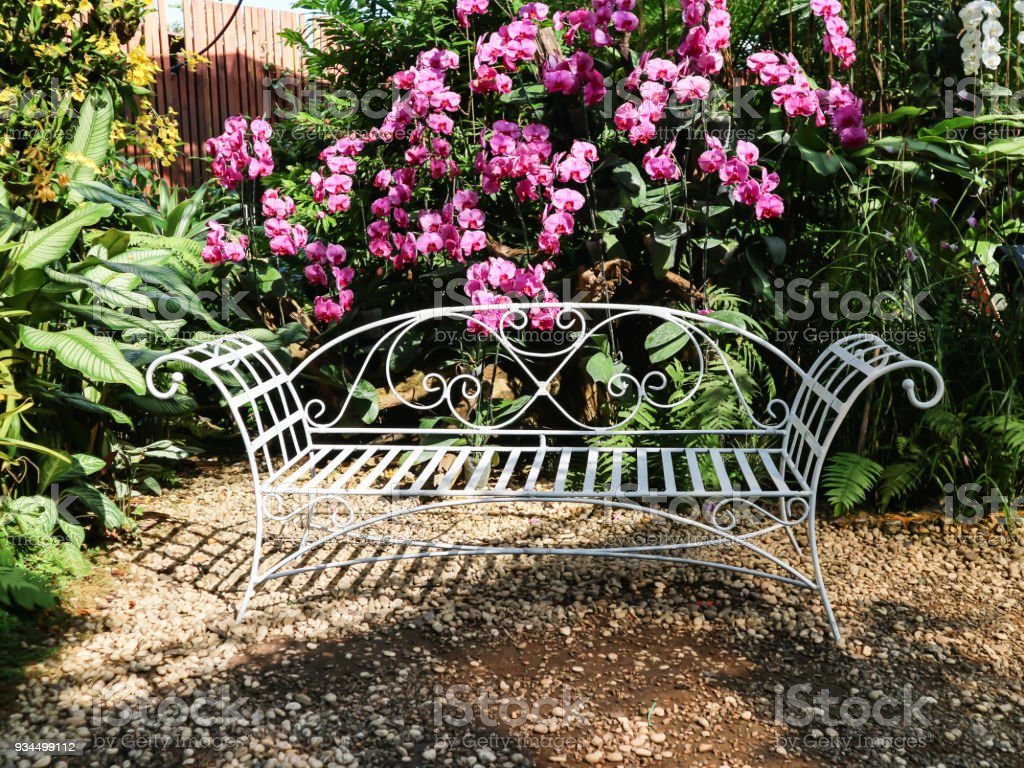 Awesome White Line Steel Vintage Style Bench In Garden With Ncnpc Chair Design For Home Ncnpcorg