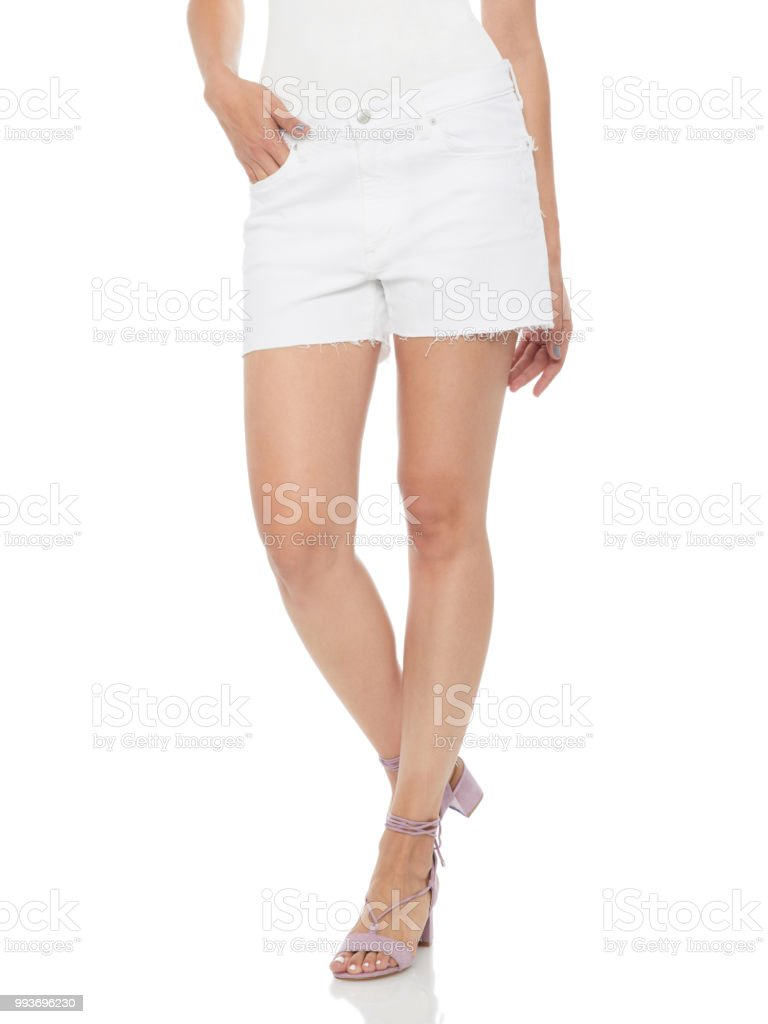 White linen short shorts stock photo