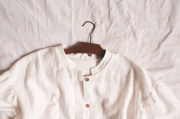 White linen textile closeup stock photo