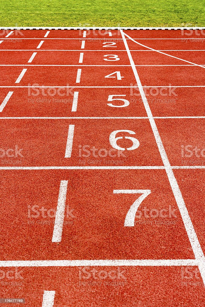 White lines and numbers on track of stadium. royalty-free stock photo