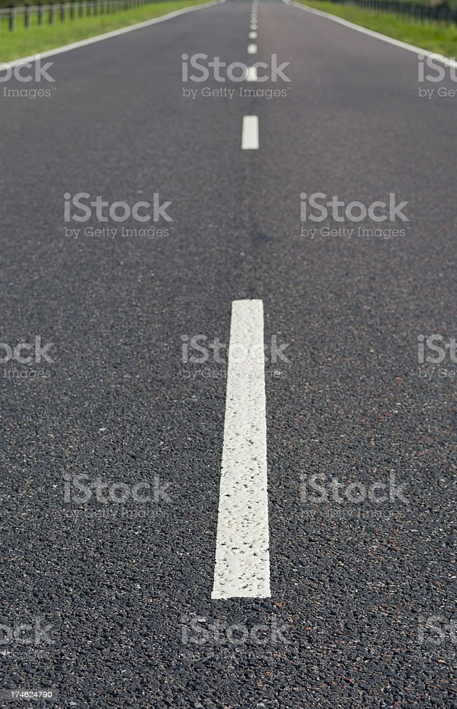 White lines on main road royalty-free stock photo