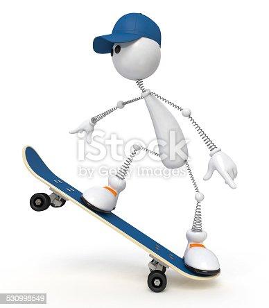 istock white little man on a skateboard 530998549