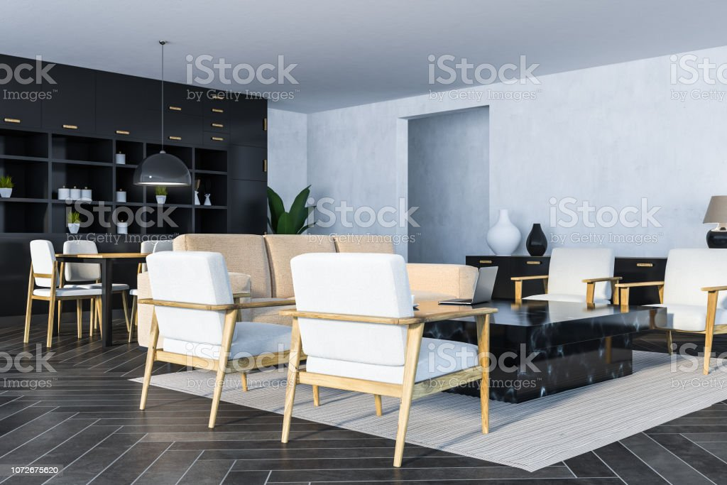 . White Living Room Black Marble Table Side View Stock Photo