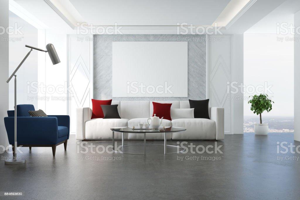 White living room, blue armchair stock photo