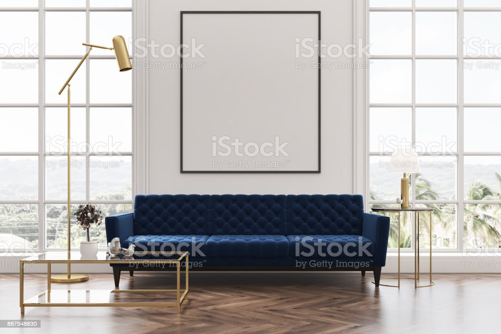 White living room, blue sofa, poster stock photo