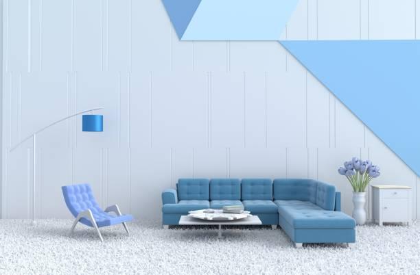 weiße wohnzimmer dekor mit blauen sessel, sofa, weiße holz wand, teppich, lampe, tulpe. weihnachten tag und neues jahr. 3d render. - teppich hellblau stock-fotos und bilder