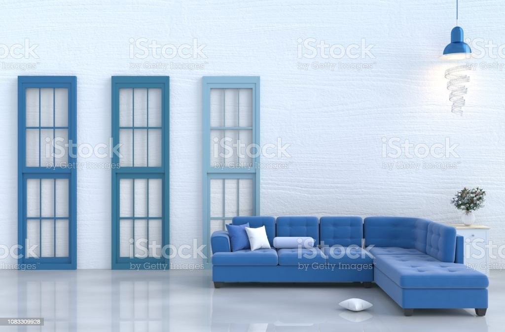 Wondrous White Living Room Decor With Blue Sofa White Wood Wall Theyellowbook Wood Chair Design Ideas Theyellowbookinfo