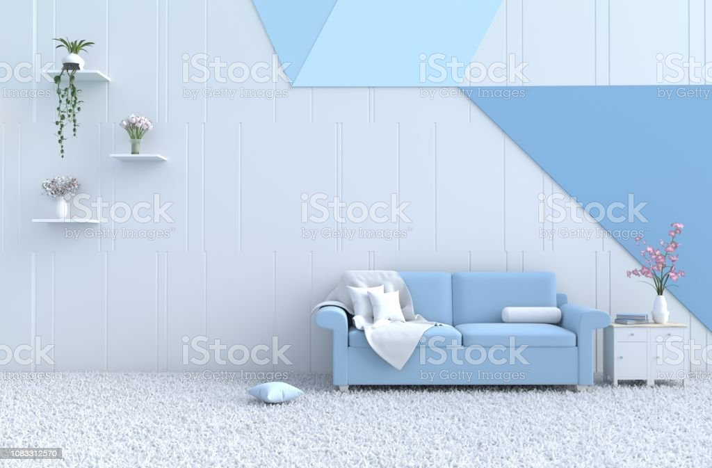 White Living Room Decor With Blue Sofa Whiteblue Wall Orchid Carpet Lamp Fabric Tree Flower Christmass Day New Year And Happy Room 3d Render Stock Photo Download Image Now Istock