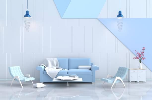 weiße wohnzimmer dekor mit blauem sofa, weiß-blauen wand, orchidee, teppich, lampe, stoff, sessel, ein blumengeschäft. weihnachten tag, neues jahr und happy zimmer. 3d render. - teppich hellblau stock-fotos und bilder